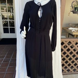 FREE PEOPLE black peasant dress button neck